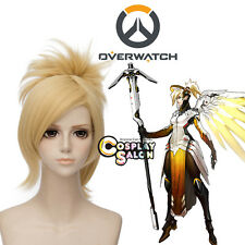 Blonde Anime Overwatch OW Mercy Angela Ziegler Party Cosplay Wig + Ponytail