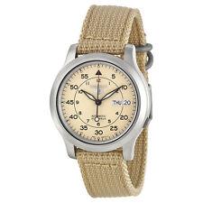 Seiko Men's SNK803 Beige Nylon Automatic Beige Dial Watch