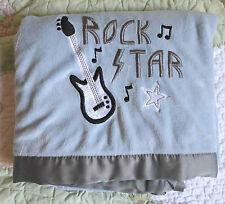 Tiddliwinks Blue & Gray Plush & Fleece Rock Star Guitar Baby Boy Blanket EUC