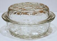 Libbey ORCHARD FRUIT Clear Glass 3 QT Round Casserole Baking Dish, Pie Plate Lid