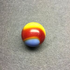 """Vintage Akro Agate Superman Glass Marble - Red, Yellow, Blue - 11/16"""""""