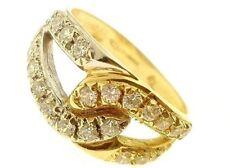 Anello Donna Oro Giallo Bianco 18 KT Carati 750 Gr 4,80 Zirconi Taglio Brillante