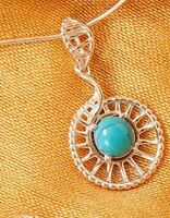 """Sterling Silver Open Spiral Pendant with Turquoise Center 1.5"""" Long"""