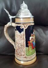 Old Marzi & Remy Beer Stein 2863, Pewter lid, Chalets, vintage