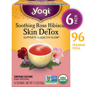 Yogi Tea - Soothing Rose Hibiscus Skin DeTox - 6 Pack, 96 Tea Bags Total
