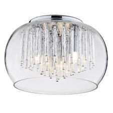 3 Light Flush Ceiling Light Glass Bowl Shade W/ Aluminium Rods Chrome Litecraft