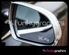 BMW X4 NEW LOGO SYMBOL MIRROR DECALS STICKERS GRAPHICS x3 IN SILVER ETCH VINYL