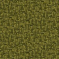 Moose Lodge  Moose Green By The yard cotton fabric
