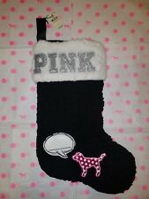 NWT Victoria's Secret PINK Christmas Stocking Black White Sherpa -- Super Cute!!