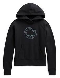 Harley-Davidson Women's Willie G Skull Pullover Hoodie, Black 96178-21VW