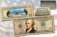 Official TEN DOLLAR $10 U.S Bill Genuine Legal Tender Currency COLORIZED 2-SIDED