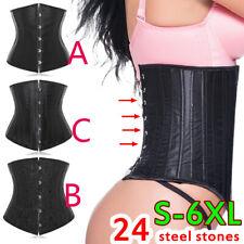 Sexy Jacquard Corset Brust Korsett Taillenformer Unterwäsche 24 Stahlknochen