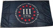 New listing Three 3% Percenter Rebellion Tyranny 3 x 5 Feet 110g knitted Heavy Duty Flag