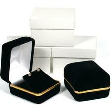 Earring Gift Box Black Velvet Gold Showcase Display