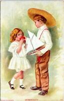 1907 Generosity Boy with Antique Toy Sailboat Art Postcard GJ