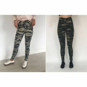 Ladies Women's Camouflage Army Skinny Fit Stretchy Jeans Jeggings Trousers 8-16