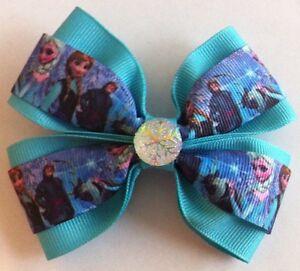 "Girls Hair Bow 4"" Wide Frozen Elsa Anna Aqua Ribbon Snowflake French Barrette"