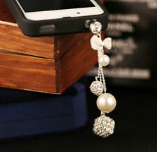 Rhinestone Pearl Chain Anti Dust Plug for iPhone,Samsung & All Smart Cellphone