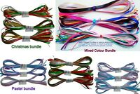 SATIN AND ORGANZA RIBBON BUNDLES 10 x 1M GIFT WRAPPING, WREATHS, DECORATIONS, CR