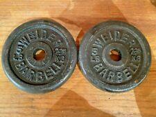 "Vintage  Weider 8 x 5 lb weight plates 1"" weights Dumbells Nice"
