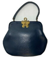 Vtg Roger Van S Navy Blue Pebbled Leather Handbag Brass Accents Butterfly