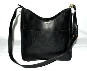 Crazy Horse by Liz Claiborne Black Faux LeatherThree Sectional Crossbody Bag