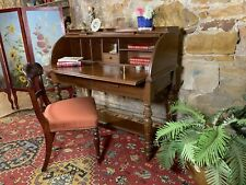 Vintage Antique Colonial Style Cylinder Desk~Rolltop~Drawers-Solid Timber