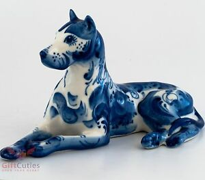 Porcelain Great Dane Dog Figurine Gzhel colors handmade