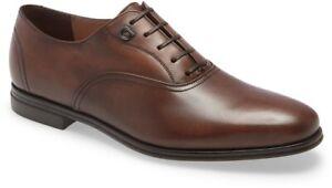 Salvatore Ferragamo Slate Size 10 E Plain Toe Men's Leather Brown Oxford