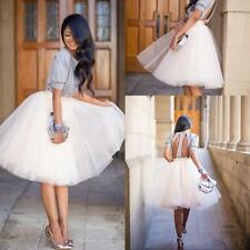 Womens Vintage High Waist Tulle Ball Gown Midi Swing Skirt A-Line Knee length