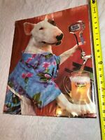 Vintage Rare Spuds Mackenzie Bud Light Budwieser Bar Poster Cardboard Backed