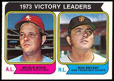 1974 TOPPS OPC O PEE CHEE BASEBALL #205 WILBUR WOOD RON BRYANT NM GIANTS LEADERS