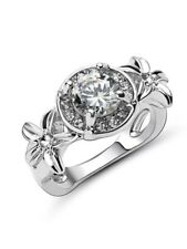 Eternity White Sapphire CZ Simple Ring 10kt White gold filled Band Jewelry Sz 9
