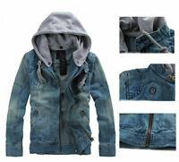 Tops Men's Slim Fit Hooded Casual Coat Jean Denim Jacket Outerwear overcoat