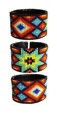 BR515 Assorted Fire Star Native Medallion Cuff Glass Czech Bead Bracelet Artisan