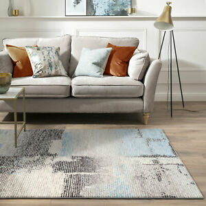 Extra Large Rug Charcoal Grey Blue Non Shed Soft Warm Durable Carpet  240x340cm