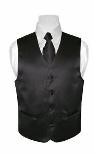 BOY'S Dress Vest & NeckTie Solid BLACK Color Neck Tie Set for Suit or Tux size 8