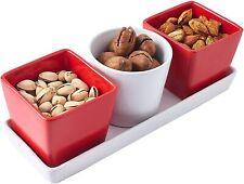 Bruntmor Ceramic Dinning Serveware Set of 4 - 3 PC Serving Bowls Dishes & 1 Tray