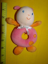 "CARTERS Starters pink ladybug ""friends"" bow Plush Rattle LOVEY Toy ring 6.5"""