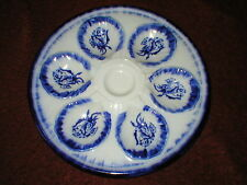 VINTAGE IRONSTONE STAFFORDSHIRE VICTORIA BLUE & WHITE OYSTER DISH