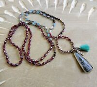 Sundance Catalog Earrings & New Garnet Bead Boho Turquoise Tassel Long Necklace