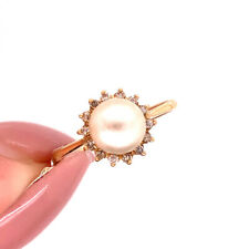 in 14k Yellow Gold Pearl and Diamond Right-Hand Ring