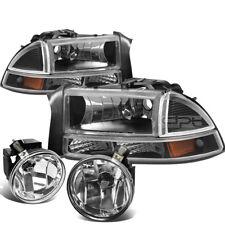 01-04 DODGE DAKOTA/DURANGO BLACK AMBER HEADLIGHT+SIGNAL LAMP+CHROME FOG LIGHT