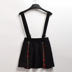 Women Gothic Punk Red Black Plaid Suspender Skirt Lolita Girls Zip Half Skirt