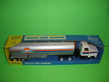 "GULF TANKER TRUCK Pressed Steel / ANTIQUE 1980's / 1/27th / 20"" / White Cab NEW"