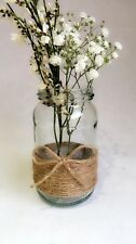 5 x Glass Jars Vintage Vases Country Table Wedding Centrepiece Hessian Twine 10