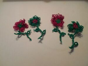 4 Tatted Flowers Merry Christmas Red Green by Dove Country Tatting