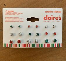 Claires Earring Set Studs Red Green White Jewelry Holiday NWT