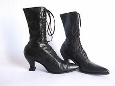 Antique Victorian Black Leather Steampunk Boots Polly Preston Womens Lace Up 6
