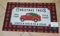 """NEW Christmas Trees Red Pick Up Truck Door Mat 18 x 30"""" Indoor/Outdoor Mainstays"""